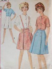 VTG 60s SIMPLICITY 5261 Front Wrap Skirt~Opt Suspenders & Blouse PATTERN 10/30B