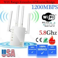 1200MBPS DUAL Band WiFi Range Extender Internet Booster Wireless Signal Repeater
