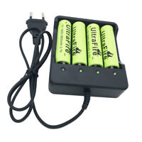 4X 18650 8800mAh Batterie 3.7V Li-ion Rechargeable Battery and 4.2V EU Chargeur