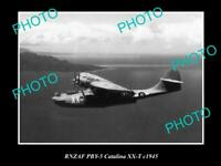 OLD POSTCARD SIZE PHOTO OF THE RNZAF AIR FORCE  CATALINA SEAPLANE c1945