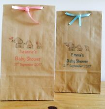 Personalised Paper Baby Shower Favour Bags/ Wedding/Christening/Party/Ribbon