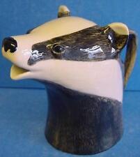 More details for quail ceramic badger half pint jug - wildlife animal head model ornament figure