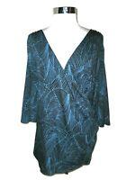 KIYONNA Plus Size 5X Faux Wrap Shirt Top Black Blue 3/4th Sleeve