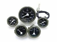 GREEN BEZEL SPEEDOMETER,TEMP,OIL,FUEL,AMP GAUGES SET WILLYS JEEP NEW BRAND