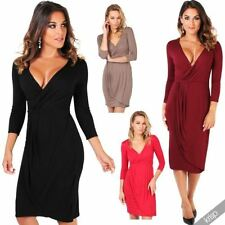 Casual Solid Wrap Dresses