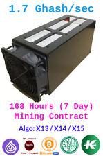 Baikal Miner Giant  1.7 GHash/sec Guaranteed 7 Days Mining Contract x13/x14/x15