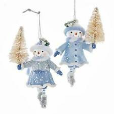 Set of 2 Blue Skating Snow Girl Ornaments w