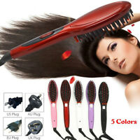 Fast Electric Hair Straightening Brush Comb Ceramic Hair Straightener Comb Irons