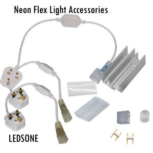 LED Neon Flex Tube Rope Light Accessories Power Adapter connecting pin Clip, cap