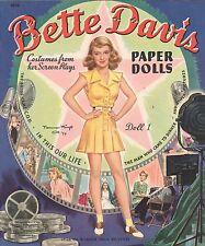 Vintage Uncut 1940S Bette Davis Paper Dolls ~Merrill~Org Sz~Lasr Reproduction