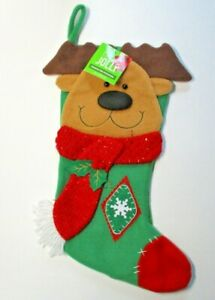 "Reindeer Christmas Felt Stocking Character 3D Be JOLLY 20"" Brand New NWT"