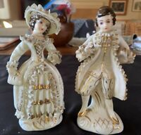 """2 Vintage White Porcelain Victorian Figurines Gold Accents Mojae China Japan 7"""""""