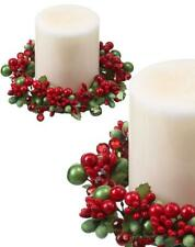 "Green and Red Pearl Berry and Jewel 6"" Pillar Candle Ring Christmas Set of 2"