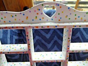 Kids Babys Room Colorful Polka Dot Hanging Wall Shelf Shelving Multicolor Dots