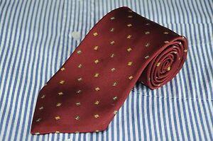 Ermenegildo Zegna Men's Tie Burgundy Green & Gold Geometric Woven Silk Necktie