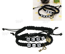 His & Hers Lock and Key Couple Bracelet Lovers Friendship Chain Bangle Decor