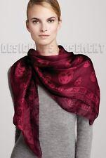 "ALEXANDER MCQUEEN Burgundy & Pink SKULLS silk Chiffon 41x47"" scarf NWT Authentic"