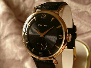 Bulova 1958 HIS EXCELLENCY vintage manual wind watch 10BP Black dial 23 jewels