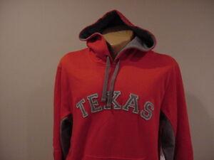 GORGEOUS Texas Rangers Men's Sz Lg Red Majestic SEWN ON Hooded Sweatshirt, NEW!