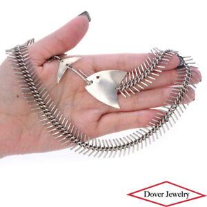 Estate Sterling Silver Fish Skeleton Bone Collar Necklace 44.9 Grams NR
