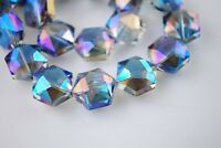 10pcs Hexagon Faceted Crystal Glass Charms Loose Spacer Beads Blue Colorized Lot