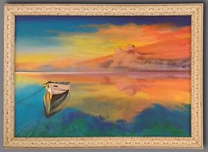 """""""Storm Brewing"""" Original Painting Framed & Signed Boat Lake Water Sea Sky Clouds"""