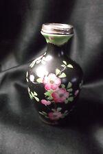 cloisonné JAPANESE VASE  Asian Oriental Pottery/sterling rim/Cherry Blossom