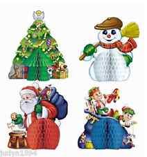 4 CHRISTMAS HONEYCOMB DECORATIONS CENTREPIECES  SANTA TREE SNOWMAN ELF PLAYMATES