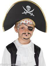 Nuevo Niñas Niños Chicos Para Niños, Capitán Pirata Skull & Crossbones Fancy Dress Hat