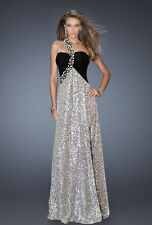 WOW THE CROWD! BLACK & SILVER BEADED ONE SHOULDER PROM/EVENING/FORMAL; AU12/US10