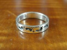 925 Ring Size 5 3/4 Footstep Feet Pattern Band Sterling Silver