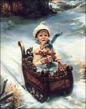 A Time For Giving by Sandra Kuck Christmas Little Girl On Sleigh