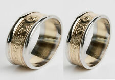 14k Gold Celtic Irish Handcrafted Wedding Ring Set Warrior Rings 12mm 9mm