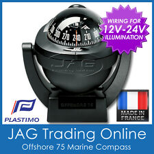 Plastimo Offshore 75 Black Bracket Mount Marine/boat Compass 12v-24v Lighting