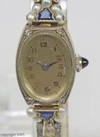 Dau Antike Damen Armbanduhr mit Diamanten Perlen aus 585 Gold Art-Deco 1920