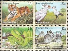 UNO - New York 815-818 Viererblock (kompl.Ausg.) postfrisch 1999 Gefährdete Tier