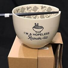 """Enesco """"Ramen-Tic� Noodle Bowl With Chopsticks #6002424 Brand New In Gift Box"""