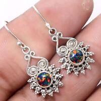 Artisan - Fire Opal 925 Sterling Silver Earrings Jewelry 7148
