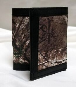 Realtree Camo Canvas and Genuine Leather Trifold Wallet With RFID Blocker