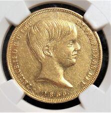 Brazil: Pedro II gold 10000 Reis 1833 AU55 NGC.