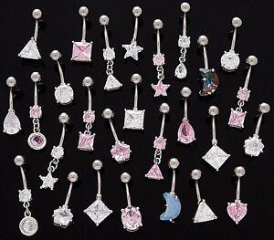 5 CZ Dangle/Non Dangle Belly Button Rings 14g Wholesale Gem Fancy Shapes 185