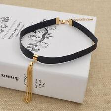 Black Leather Sexy Choker Women Statement Chain Tassel Collar Necklace Jewelry