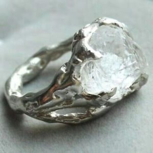 925 Silver Ring Woman Man Creative Iceberg Irregular White Crystal Punk Jewelry
