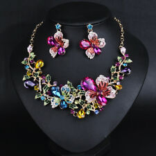 GLASS crystal butterfly&flower necklace/earrings set  rose/blue SHIP FROM NYC