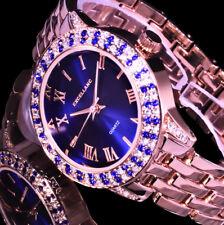 Excellanc Uhr Damenuhr Armbanduhr Blau Rose Gold Farben Metall Strass 28