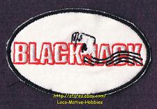 "LMH PATCH Badge  BLACKJACK Black Jack Card Wave Oval Logo Red White Game 3-7/16"""