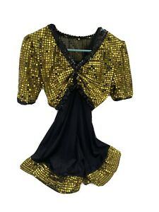 Costume Gallery Black & Gold Sequins Two Piece Shorts Costume Dance Size Large