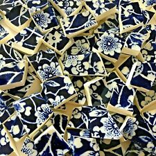 "65 BROKEN CHINA MOSAIC TILES~ 1/2"" NAVY Blue WHITE Floral English CALICO Chintz"