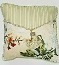 Waverly Magnolia Gardens THROW PILLOW Tassel Striped Braided Edge Green Ivory