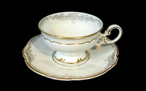 Beautiful Lorelei Loreley  Hutschenreuther Gold Trim Footed Teacup And Saucer